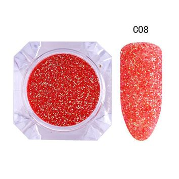 1 Box Holo Shining Nail Glitter Powder Candy Color Round Dust 0.5mm Manicure Nail Art Decoration