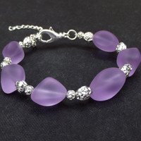 Purple Sea Glass Bracelet:  Radiant Orchid Lavender Silver Rose Beaded Beach Wedding Jewelry