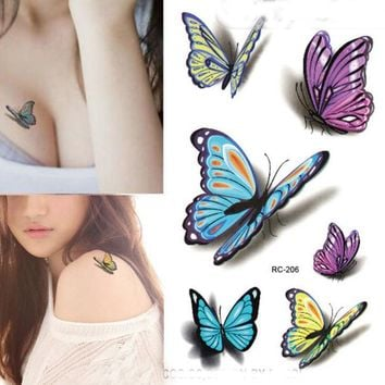Temporary Butterfly Tattoo Sticker Body Art Water Transfer Fake Tattoo 3D Waterproof Stickers For Halloween Costume Party