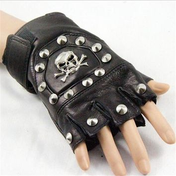 Punk Rock Skull Leather Half Finger Gloves