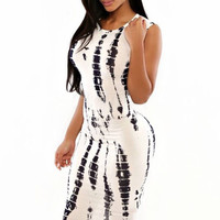 Ivory Tie Dye Print Sleeveless Back Cutout Bodycon Midi Dress