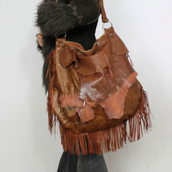 Oversized  tribal rusted brick leather distressed fringed bag fringe raw tote hobo tribal drifting wood button oversized elvish asymmetrical