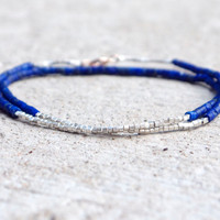 Very thin lapis lazuli and tiny silver cube beaded bracelet Modern design layered bracelet Very fine lapiz jewellery Small beaded sterling