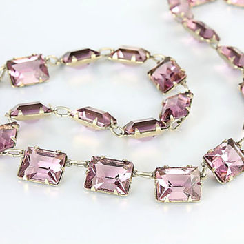 Art Deco Amethyst crystal Necklace, Antique Jewelry Open Back Stones 16.5 inch