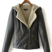Black Zip-Up Fur Inside Texture Hooded Faux Leather Jacket