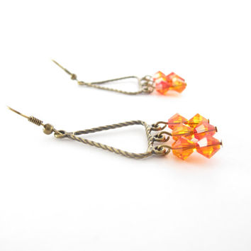 Orange Chandelier Earrings, Swarovski Crystallized Elements