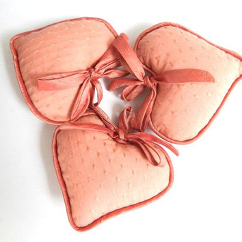 Christmas Tree Ornament Set of Three Hanging Hearts in Salmon Dusty Orange - Plush Hanging Heart Ornament - Christmas House