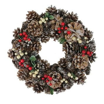 """13.25"""" Red Berries and Pine Cones Artificial Christmas Wreath - Unlit"""