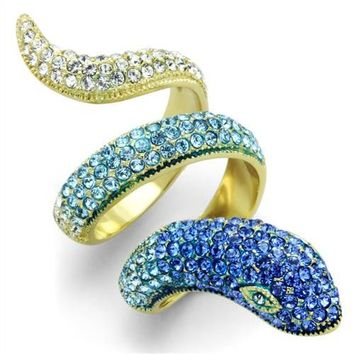 Multi Color Crystal Gold Stainless Steel Snake Ring