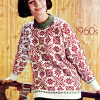 Ladies Sweater for Winter Wear KNITTING Pattern Vintage 60s Folk-Style Sweater Knitting Pattern Sizes 34-39 - Pdf Pattern - INSTANT Download