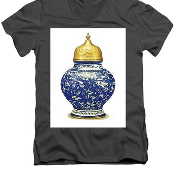 An Ottoman Iznik Style Floral Design Pottery Polychrome, By Adam Asar, No 9a - Men's V-Neck T-Shirt