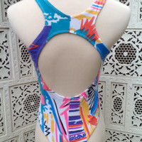 80s Pastel Abstract Geometric Leotard Thong Style Body Suit Gilda Marx High Cut Thighs Tropical Cotton Knit   //SuzNews//