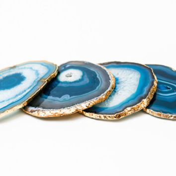18K Gold Plated Teal Agate Coaster Set