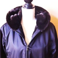 Gorgeous MARK New York Black Winter Coat with Faux Fur Lining Size Small