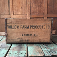 Vintage Wood Crate, Willow Farm Products Co. La Grange Illinois, Wooden Milk Crate