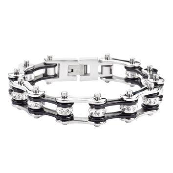 Black and Silver Stainless Steel Chain Bracelet with Rolling Crystals