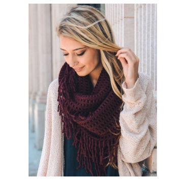 """Always My Style"" Lattice Tassel Fringe Burgundy Infinity Scarf"