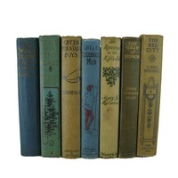 Blue and Brown Vintage Book Set for Farmhouse Decor, S/7