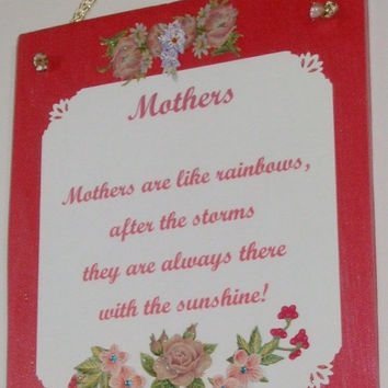 Mothers Wall Décor, Rustic Cedar Signs, Poems, Mom, Mum, Mam,