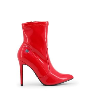 Laura Biagiotti Red Pointed Toe Ankle Boots