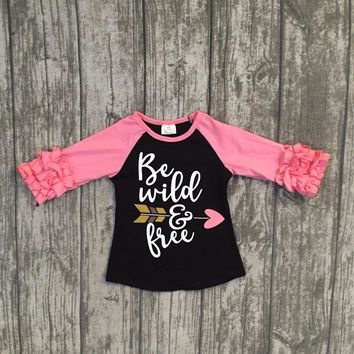 new fall/winter baby girls cotton icing coral black ruffle sleeve top t-shirts icing raglans be wild arrow children clothes kids