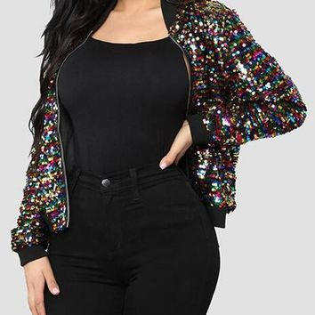 New Black Sequin Glitter Zipper Long Sleeve Sparkly New Year EVE Casual Coat