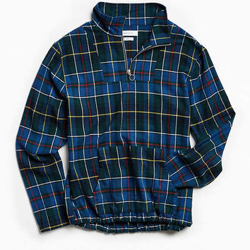 UO Mock Neck Flannel Popover Shirt | Urban Outfitters
