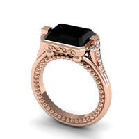 Because Your Love Grows Stronger 14k Rose Gold Wedding, Engagement, Anniversary Ring with Black and White Diamonds Item # WR-1346
