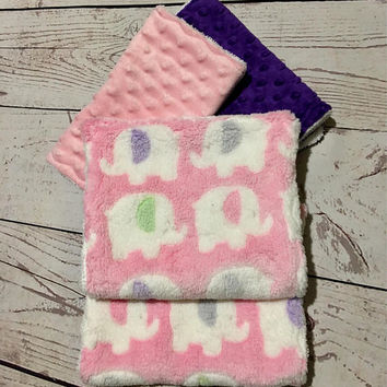 Baby Burp Cloths,Handmade Burping Pads,Burp Cloth Set,Baby Girl Burp Cloths,Pink Elephant print,Baby Accessories,Baby and Child Care