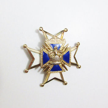Vintage Coro Heraldic Brooch: Enamel Maltese Cross and Crown