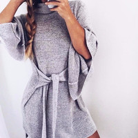 Winged Turtleneck Tied Sweater Dress