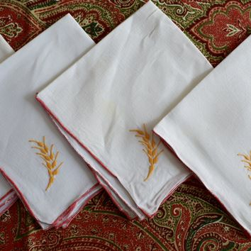 Set of 4 Vintage Linen Blend Cloth Napkins Embroidered w/ Wheat red  yellow
