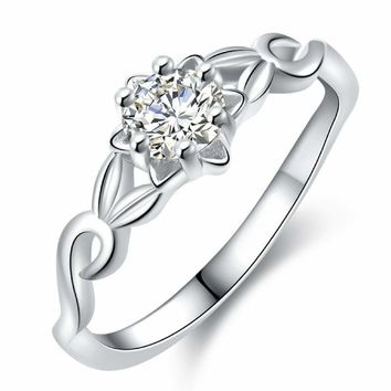 Women's Zircon Princess Cut 925 Sterling Silver CZ Wedding Engagement Ring Set