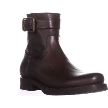 FRYE Veronica Strap Zip Short Ankle Boots, Chocolate, 9 US