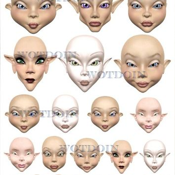 Fantasy Doll Faces Fantasy Printable Digital Collage Sheet Image Transfer Digital Download