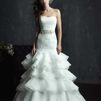 Plus Size Strapless Appliques Beading Ruffles Wedding Dress jy1775