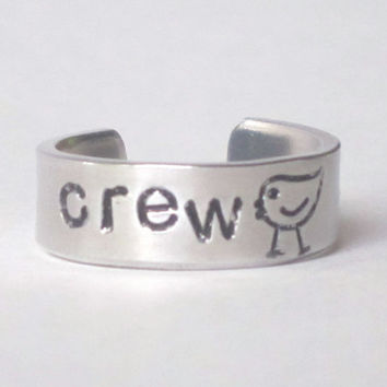 rowing crew ring, medium sizes 6-8 adjustable crew ring, crew chick adjustable ring, handstamped rowing ring, rowing jewelry, gift for rower