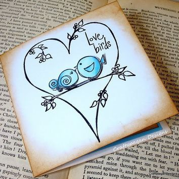 The Love BirdsLuxury 3D Note Card Invitation with by craftypagan