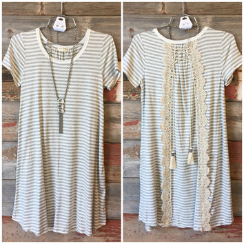 Pure Bliss Striped with Crochet Dress