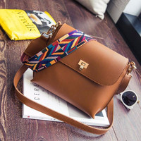 Hot Sale Women Leather Shoulder Bags Simple Flap Sling Crossbody Messenger Bags Colorful Wide Strap Handbag Purses Free shipping