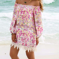 The Best Of Me Floral Print Off The Shoulder Long Sleeve Lace Hemline Pink Sundress