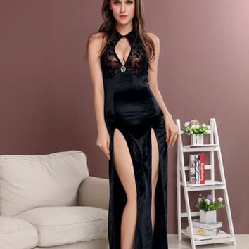 Black Halter Sleeveless Cutout Bodycon Slit Maxi Dress