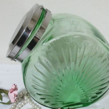 Green Glass Cookie Jar
