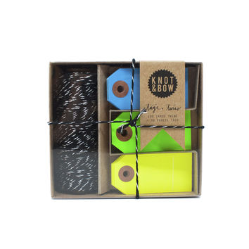 Black Tag and Twine Box