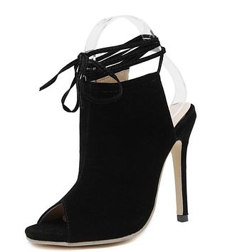 New Spring nude heels gladiator sandals Women Sexy ankle strap heels up Pumps Pointed high heels shoes pumps women