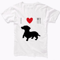 I Heart My Dog T-shirt / I love my dachshund t-shirt / i love my pitbull t-shirt / i love my chihuahua t-shirt / i love my akita t-shirt