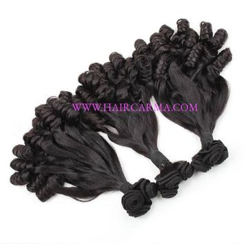 Mink Hair Aunty Funmi Hair Bouncy Curls Straight to Loose Wave Natural Color 300G