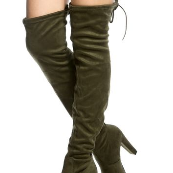 Olive Faux Suede Chunky Thigh High Boots @ Cicihot Boots Catalog:women's winter boots,leather thigh high boots,black platform knee high boots,over the knee boots,Go Go boots,cowgirl boots,gladiator boots,womens dress boots,skirt boots.