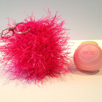 Fuzzy Neon Pink EOS Lip Balm Cozy/Holder with Split Ring/Lobster Clasp for Clip-On