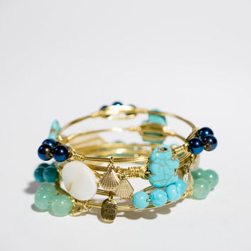 Ships Free! Navy Blue Beaded Wire Wrapped Gold Bangle Bracelet (Inspired by Bourbon & Bowties) - Great grad/ birthday/bridesmaid gift!